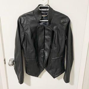 Nanette Lepore Faux Leather Bomber Jacket Black M